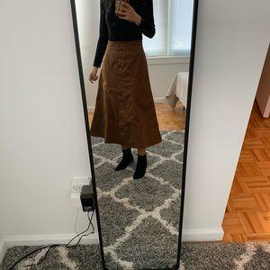 Uniqlo brown midi skirt